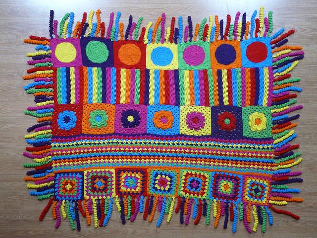 crochet blanket with crochet fringe, crochetbug, crochet squares, textured crochet flowers, crochet dots, granny squares, crochet circles
