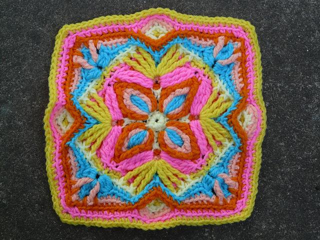 A swatch of multicolor overlay crochet I found on Bastille Day 2011 while cleaning house
