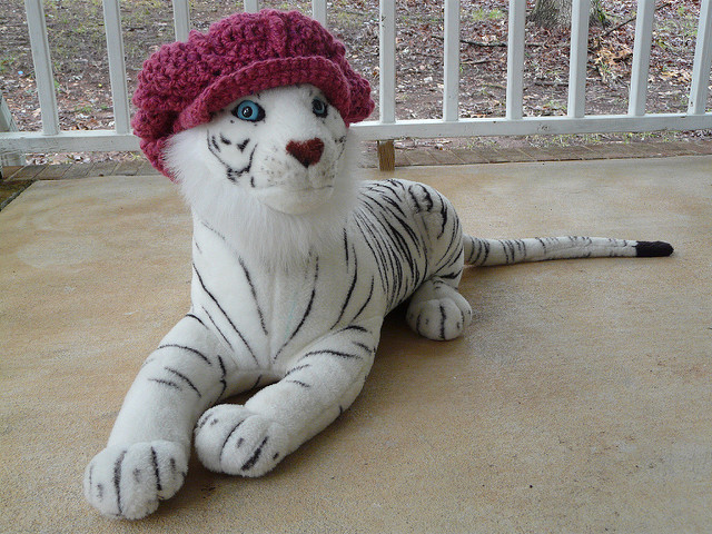 newsboy crochet hat on a tiger, crochetbug, textured crochet, crochet hat, crochet cap, newsboy hat