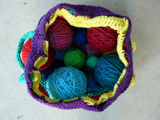 crochet stash basket, lifesavers colors, crochetbug