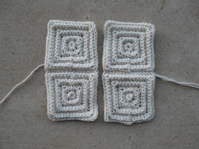 four textured crochet squares
