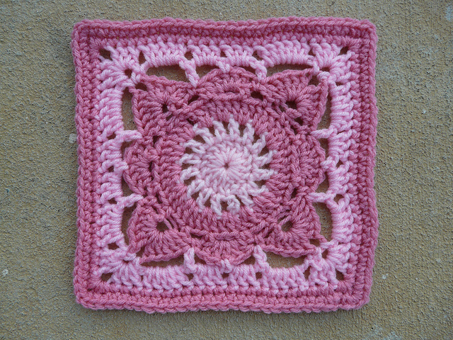 pink crochet square