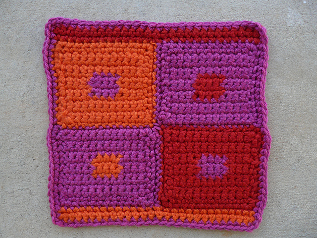 A final photo of the crochet pet mat for Josef Albers' dog after it has become itself