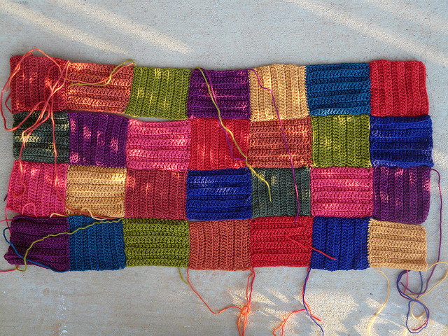 wool crochet squares