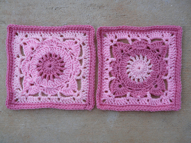 Two of the infinite color possibilities of the Willow crochet squares