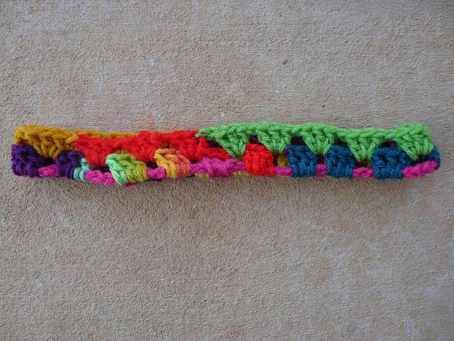 crochetbug, crochet squares, granny squares, crochet headband, granny square headband, crochet ear warmer, granny square ear warmer, scrap yarn crochet, crochet poncho