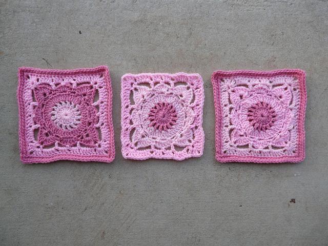 pink crochet squares