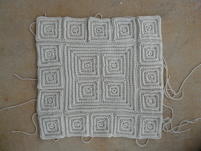 Textured crochet squares joined to create more texture