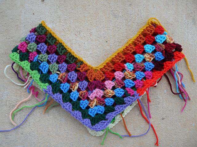 start of a granny stripe crochet poncho