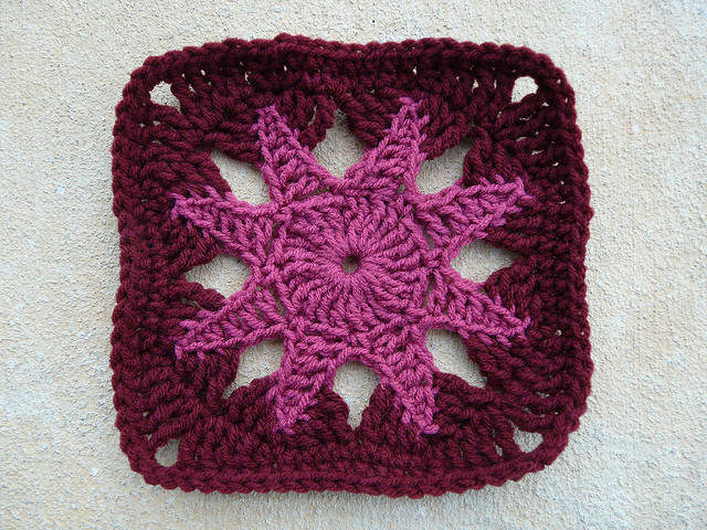 crochet star center crochet square