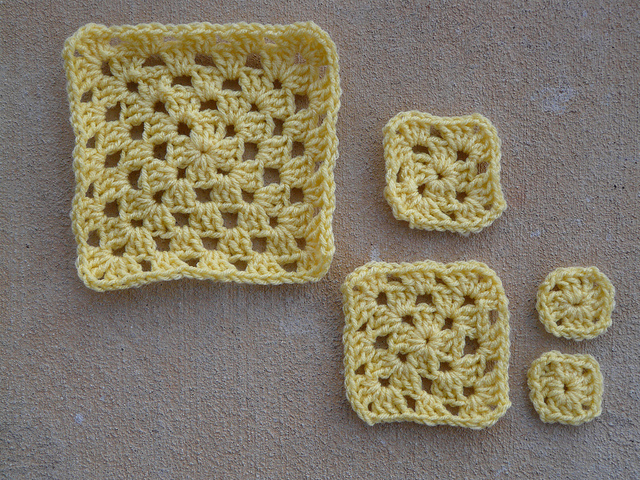 The  If Fibonacci crocheted sequence inspired granny squares in a group photo