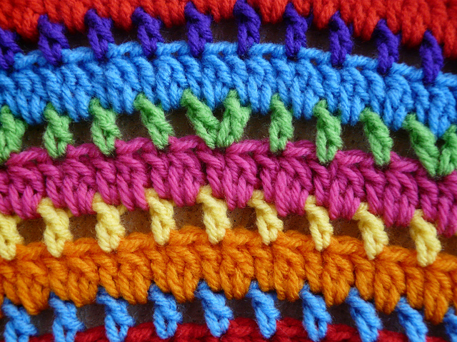 Detail of the African beads crochet throw