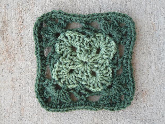 green crochet square granny square