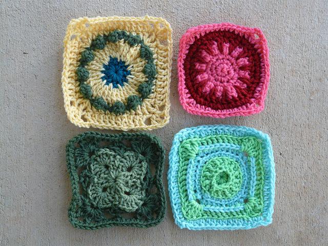 Four squares of Jean Leinhauser's 101 Crochet Squares