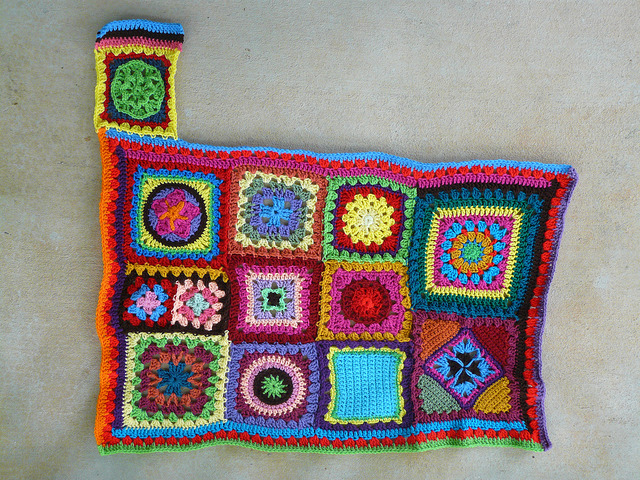 Square I-2 with double crochet strips to fill in the gap