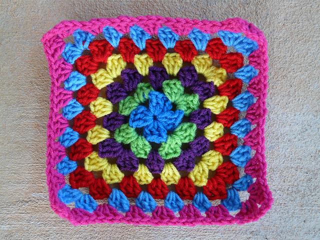 a multicolor granny square for a crochet blanket