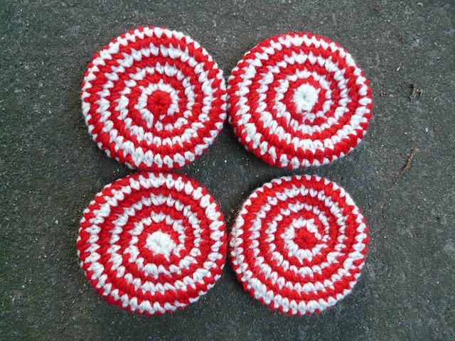 Four peppermint swirl crochet cookies