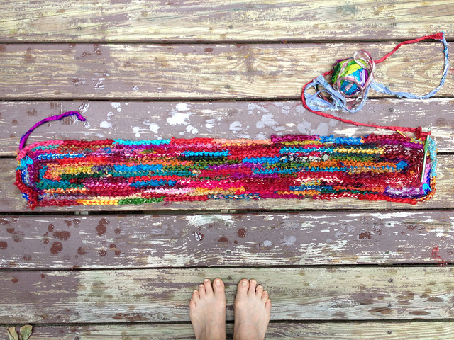 sari strip crochet rag rug