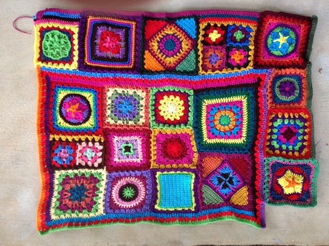 join as you go granny square crochet blanket