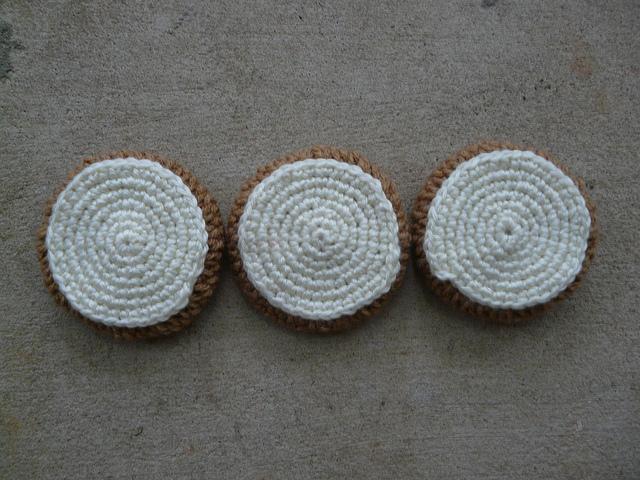 three crochet cookies