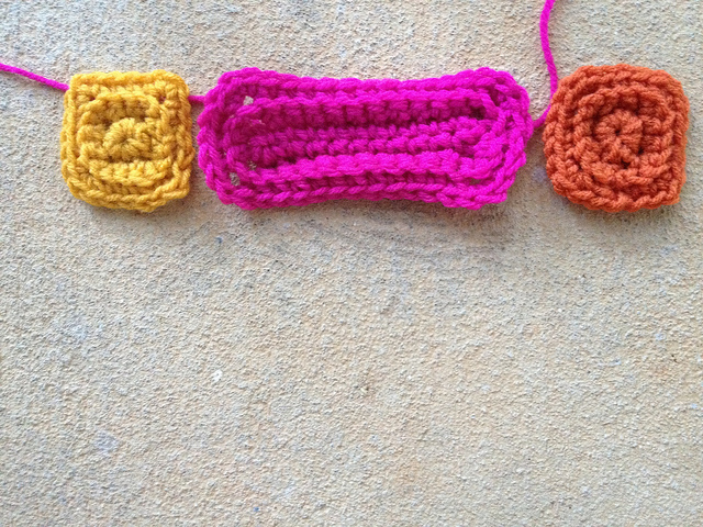 Textured crochet rectangle and textured crochet square motifs
