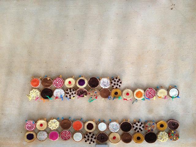 rows of crochet cookies