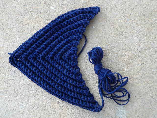 textured crochet triangle
