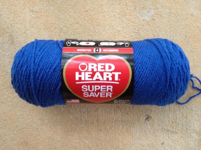 Red Heart blue suede yarn