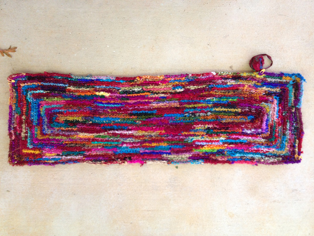 sari strip crochet rug