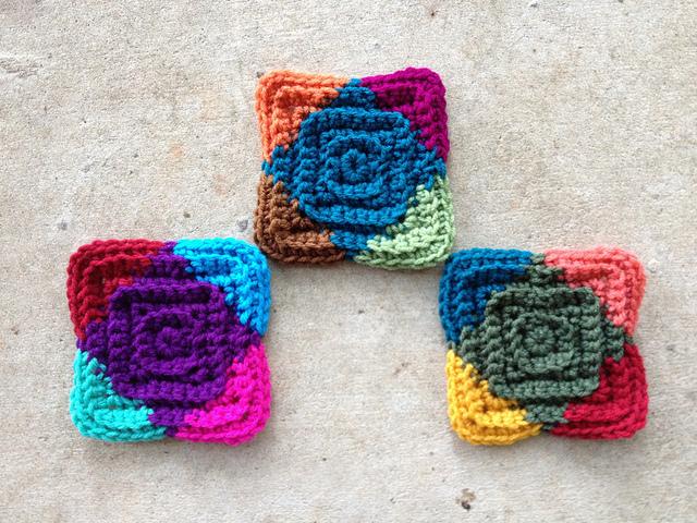 multicolor textured crochet squares