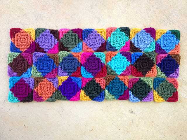 21 textured crochet squares