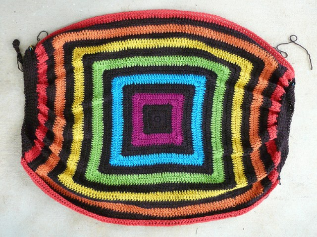 I gather two ends of the future felted crochet fat bag to-be