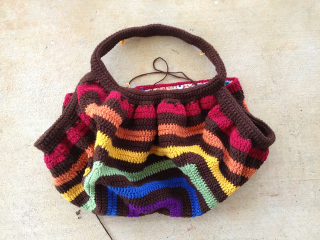 A second attempt to make suitable crochet straps for the unfelted future fat bag