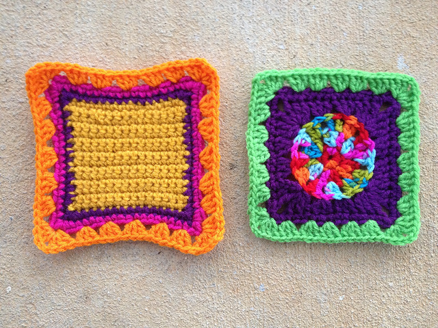 Crochet squares D-2 and E-2 after crochet revisions