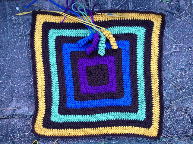 The future granny square  fat bag with coordinating hyperbolic curlicues