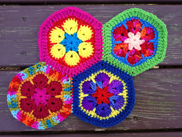 Four African flower crochet hexagons joined with a whipstitch