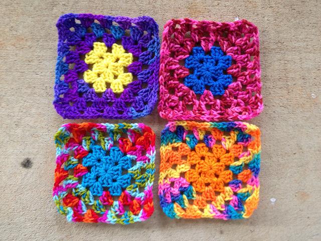 crochetbug, crochet square, granny square, multicolor crochet, crochet swap, scrap yarn
