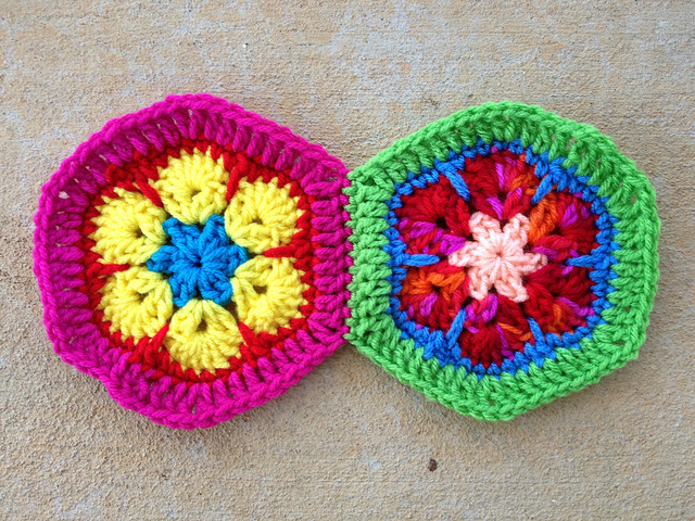 Two African Flower crochet hexagons joined along one seam