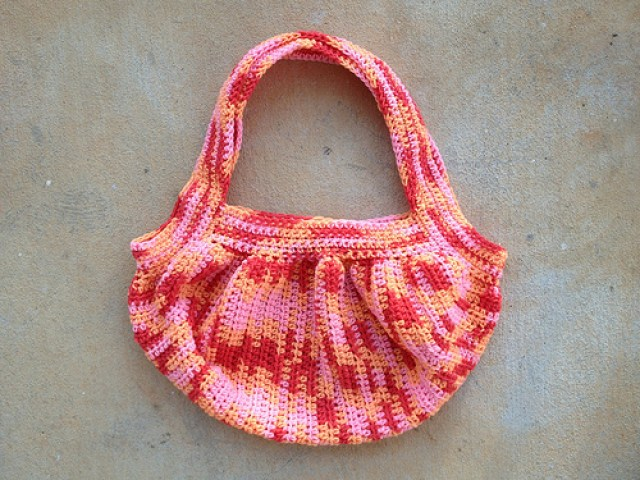 """November 25: the fat bag from vintage Red Heart """"Sherbert Mix"""" ready to be felted"""