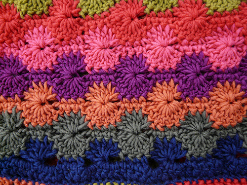 a crochet swatch of the catherine's wheel stitch