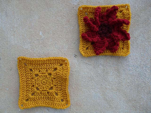 crochet flower square and plain crochet square