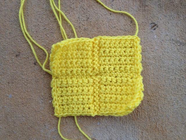 yellow crochet tetromino