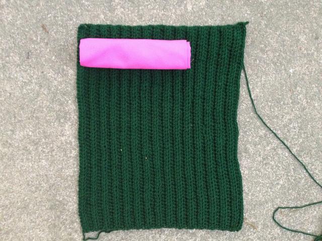 future crochet purse and fabric lining