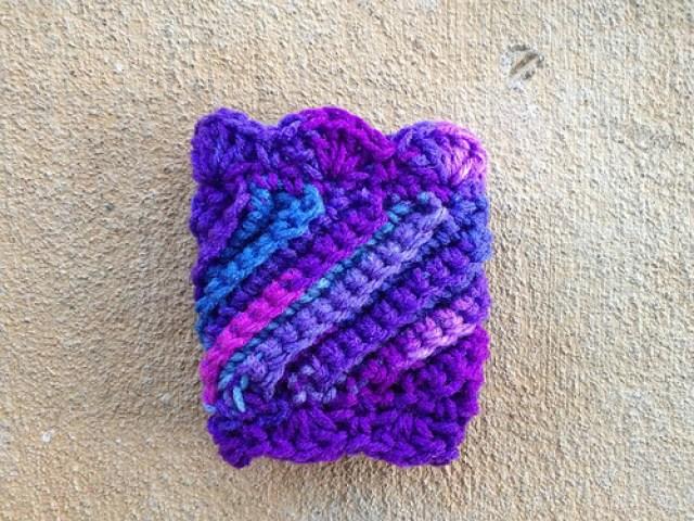 purple crochet coffee cup cozy