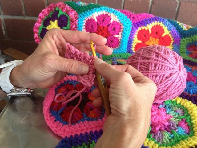Sally's first crochet swatch