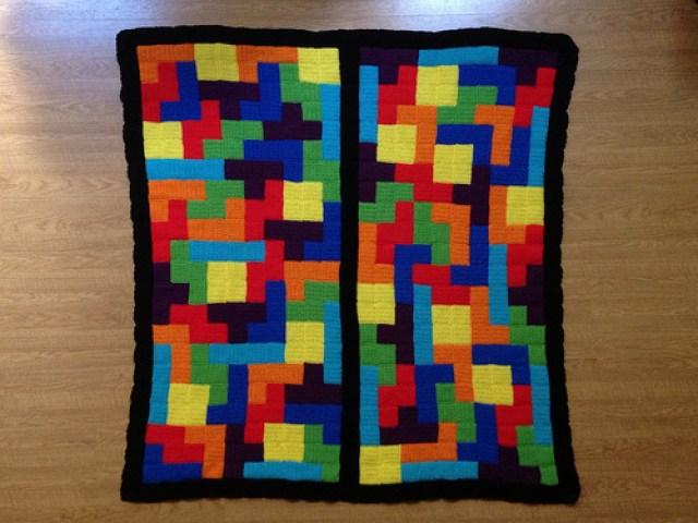 tetris crochet blanket, crochet tetrominos