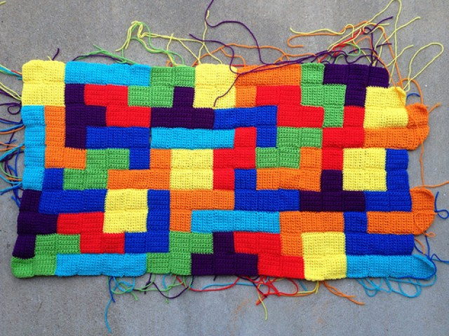 crochet tetromino panel