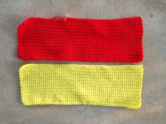 two crochet rectangles of single crochet for the top and bottom of a crochet blanket