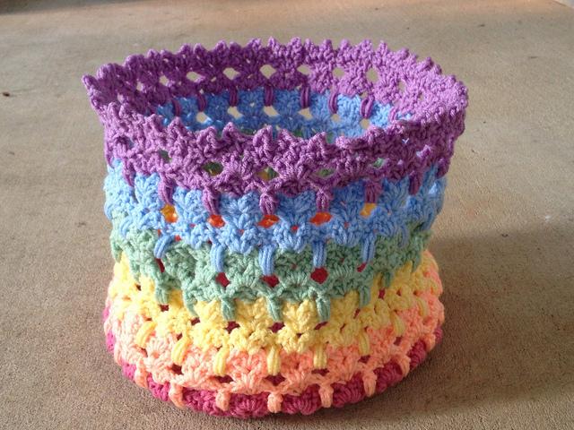 rainbow crochet cat bag