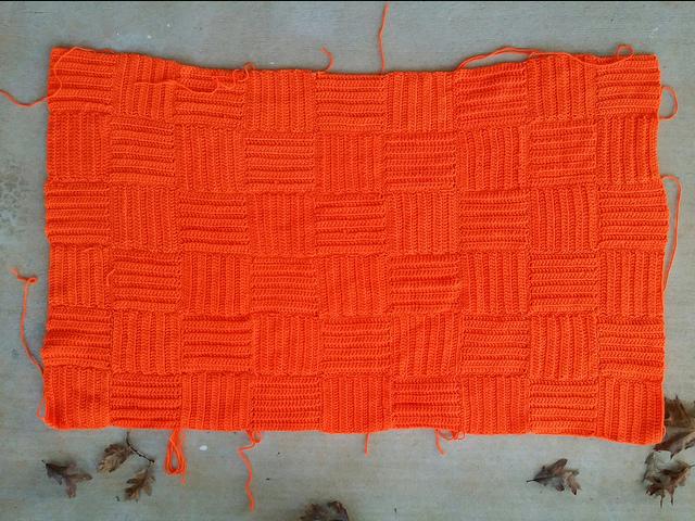 orange crochet afghan